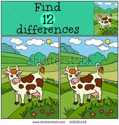 """Buy the royalty-free Stock vector """"Children games: Find differences. Cute cow stands and smiles"""" online ✓ All rights included ✓ High resolution vector f. Find The Differences Games, Hidden Games, Sequencing Cards, Fun Test, Brain Teaser Puzzles, Hidden Pictures, Cute Cows, Educational Games For Kids, Picture Puzzles"""