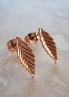 Leaf The Way Rose Gold Stud Earrings | The Lovely Locket