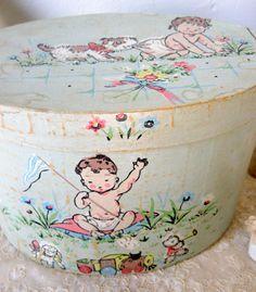 Vintage Ephemera Wall Paper Small Hat Box by Somethingcharming, $32.50