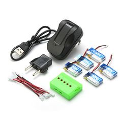 5 x 3.7V 150mAh 20C Battery & 1 To 5 Charging Cable for JJRC H30C H30W RC Quadcopter