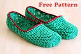simple adult crochet slippers free pattern -- looked pretty good on her foot. Also shows with strap fro Maryjanes, with flowers, with swirls