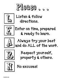 """Anchor charts & posters: """"Please..."""" anagram (LEARN) classroom management poster."""