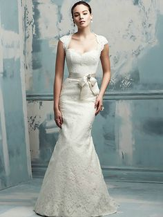 Cap-Sleeves-All-over-Lace-Mermaid-Bridal-Gown-with-Satin-Bow-Sash