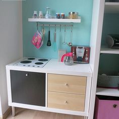 The IKEA Kallax collection Storage furniture is an important element of any home. Elegant and delightfully easy the rack Kallax from Ikea , for examp Ikea Childrens Kitchen, Diy Kids Kitchen, Diy Kitchen Decor, Home Decor, Ikea Kitchen, Ikea Kids, Diy Kallax, Ikea Kallax, Cocina Diy