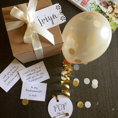 Will You Be My Bridesmaid? Balloon Message Gift Box. Kraft with Lace-Punched Tag. A fab and fun way to ask!