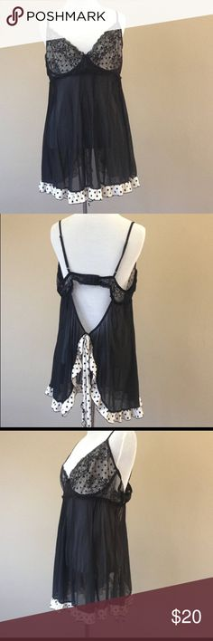 2X / Babydoll Nightie Negligee Lingerie / XXL Black babydoll nightie with stretchy adjustable straps, black lace bust. black and white polka dot ruffled trim and an open  keyhole back by Escante. Does not say size, fits like a plus size 2x. Excellent condition and has been freshly laundered. Escante Intimates & Sleepwear Chemises & Slips