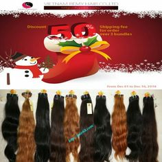 ⛄⛄⛄CHRISTMAS HOT SALE⛄⛄⛄ CONTACT ME to get the hair with best wholesale price with christmas gifts from VIETNAM REMY HAIR COMPANY 💰 💰💰  DISCOUNT FOR ALL ORDER 💰 💰 💰  💲 💲 💲 DISCOUNT 50% shipping fee when you buy over 3 bundles - Gratefulness send to all our lovely customers💲 💲 💲   If you need hair or want to sell hair products,pls contact us.  ☎ Whatsapp: +84943286486  ✉ Email : asap6886@gmail.com