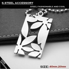 Man High Quality Silver Flower Design Stainless Titanium Steel Pendant