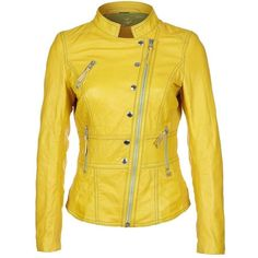 Freaky Nation Leather Jacket, Yellow (£160) | FabSugar UK ❤ liked on Polyvore featuring outerwear, jackets, genuine leather jacket, leather jacket, real leather jacket, yellow jacket and 100 leather jacket
