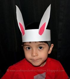 I love it when I pick my son up from preschool and he is wearing a cute craft that he made during class. This time it was an adorable Bunny Ears Headband. The teacher had the kids make them as a Letter R is for Rabbit craft. They would be perfect as an Easter craft . . . . .
