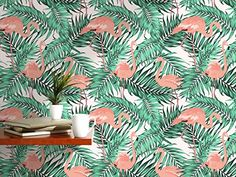 $84.99  - CostaCover  Temporary Self Adhesive Removable Wallpaper  Tropical Palm Tree Leaves Exotic Flamingo Birds  custom size available 24 x 120 *** You can find out more details at the link of the image. (This is an affiliate link) #Wallpaper