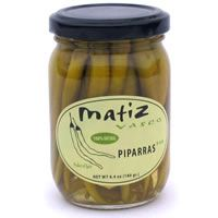 Matiz Vasco Piparras  Piparras are a traditional long green pepper from the Basque Country of Spain. With a mild slightly pickled flavor, they make a wonderful accompaniment to Bonita tuna and smoked fish, or try them on their own with olive oil and salt. Delicious!