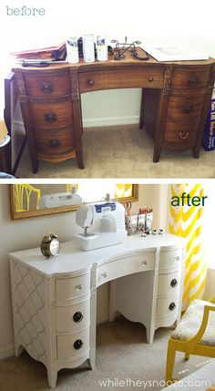 Tutorial on how she painted this desk. While They Snooze: Thrift Store Desk: Trash to Treasure