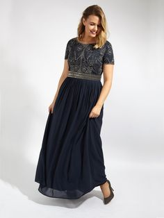 d3c3eb6282 Lovedrobe Luxe Navy Sequin Embellished Maxi Dress With Pleated Skirt - Plus  Size