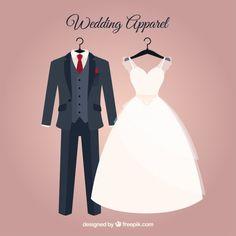 vestido de noiva elegante e terno do casamento Vetor grátis