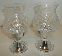 International Silver Co Pair Glass Hurricane Silver Plated Stand Candle Holder  #InternationalSilverCompany