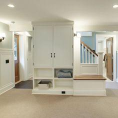 basement built-ins + operable windows + recessed fixtures provide copious light