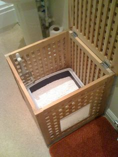 Cat house - a cat toilet - Ikeahacker - discreet in the bathroom with air circulation .