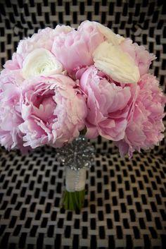 pink peonies and ranunculus wedding bouquet