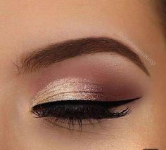 Prom Eye Makeup, Gold Eye Makeup, Wedding Makeup Looks, Natural Eye Makeup, Face Makeup, Makeup Monolid, Makeup Morphe, Makeup Art, Makeup Brushes