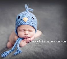 ILC Crochet NEWBORN BLUEBIRD BIRD BABY HAT Photo Prop $17.99