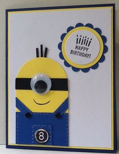 A minion card made by me for my grandson Alex