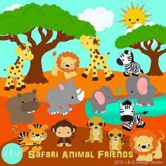 Safari Animal Friends Series 4 Digital by JandGDesignStudio