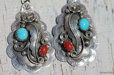 Vintage 1980's Southwestern Navajo Style Sterling Silver Turquoise & Red Coral Earrings