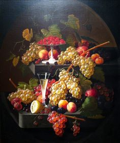 Fruit and Wine Glass by Severin Roesen
