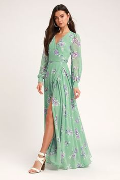 c775e544618 At Long Last Peach and Blue Floral Print Maxi Dress