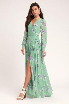 73728e602 At Long Last Peach and Blue Floral Print Maxi Dress