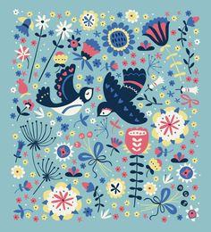 Summer Swallows bird pattern by Paula McGloin, via Behance
