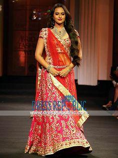 Hot Pink Sonakshi - DR11161, Sonakshi Sinha Wearing Red Bridal Lehenga at India Bridal Fashion Week 2013 by www.dressrepublic.com