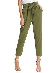 1703bde9136 GRACE KARIN Women s Pants Trouser Slim Casual Cropped Paper Bag Waist Pants  Pockets at Amazon Women s