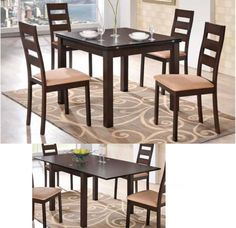 Consist of: wooden table with wooden top, 4 wooden chair with fabric seat. Expandable Dining Table, Multifunctional Furniture, Wooden Tops, Wooden Tables, New Homes, Dining Room, House, Design, Compact