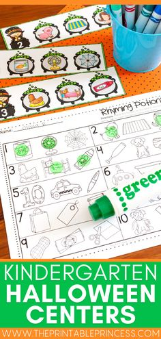 These fall Halloween math and literacy centers are perfect for October in Kindergarten! This adorable, not-so-spooky Halloween theme packet includes many Halloween themed print and go pages covering skills such as beginning sounds, lower and uppercase letter matching, syllable counting, rhyming, write the room, counting, greater than and less than, measuring, patterns, shapes, addition and more! Subtraction Activities, Kindergarten Math Activities, Counting Activities, Alphabet Activities, Writing Activities, Halloween Math, Halloween Activities, Fall Halloween, Letter Matching