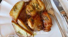 Frango assado, sobrecoxa desossada e sem pele, temperada com shoyo, mostarda e alecrim, acompanha deliciosas batatas rústicas ao forno, pá pum de fazer!