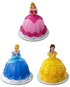 I just bought a doll cake pan set (with the original doll toppers!) from the thrift store and would LOVE to make Disney princess cakes for Phoebe! Disney Princess Birthday Cakes, Birthday Cake Girls, Princess Cakes, Disney Birthday, Third Birthday, Frozen Birthday, Bolo Barbie, Barbie Cake, Barbie Top