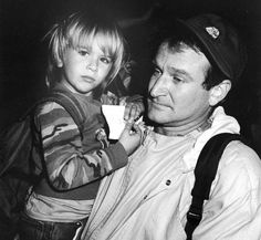 With his son Zachary at Comic Relief in 1987.