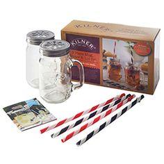 Kilner Mug / Straw Gift Set Glass Handle Drinks Tumbler Cocktail Beer Jar Kilner Jars, Mason Jars, Cocktails, Jam Jar, Refreshing Drinks, Iced Tea, Home Brewing, Transparent, Tea Set