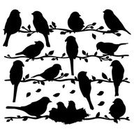 Birds on a vine silhouette - printables. Would be a cute stencil. Vogel Silhouette, Bird Silhouette, Silhouette Projects, Silhouette Painting, Free Silhouette, Bird Template, Paper Art, Paper Crafts, Illustration
