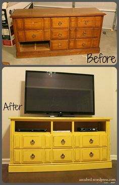 If you have an old dresser that you are not using or if you find one at a yard sale this summer, you can easily turn it into a TV console. This is a great project that is easy and very inexpensive