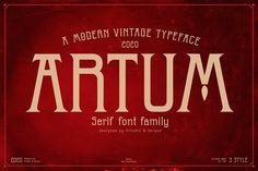Artum - Serif font family by Artistic & Unique on @creativemarket Serif Font, Font Family, Icon Set, Fonts, Artist, Modern, Vectors, Unique, Design