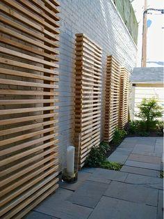 Exterior Design, Cool Wooden Contemporary Landscape Garden Screening Ideas With Gray Bricks Wall Color Also Modern Stones Flooring Design Al. Modern Landscaping, Backyard Landscaping, Landscaping Ideas, Backyard Privacy, Concrete Backyard, Paving Ideas, Concrete Fence, Backyard Decks, Gabion Fence