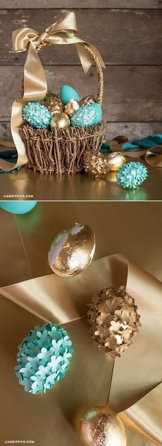 Gorgeous DIY Easter Eggs. We love the teal and gold colors. Perfect for displaying at an Easter brunch.