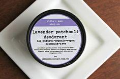 Natural Deodorant LAVENDER PATCHOULI Aluminum Free 2oz Cream Deodorant, Organic Deodorant,Vegan Deodorant