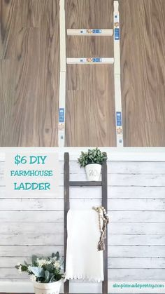 If you've seen those farmhouse ladders used for various home decor ideas, you probably know how much they cost in high-end decor stores. I got lucky and found a large antique ladder at a yard ideas dollar stores DIY Dollar Store Farmhouse Ladder Rustic Ladder, Diy Ladder, Cuadros Diy, Diy 2019, Diy Home Decor For Apartments, Diy Home Decor On A Budget, Easy Home Decor, Dollar Tree Decor, Dollar Tree Crafts