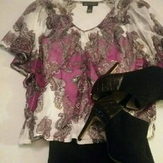 INC Kimono  Sleeve Print Top Breezy paisley print peasant top with decorative stones. INC International Concepts Tops