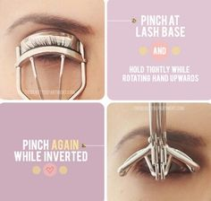 LASH CURLING SECRET: Get the most out of your lash curler by pinching at the very base of your lashes, and then lifting the curler up into an inverted position. This creates double the curl and lasts much longer!