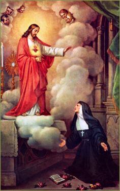 "|October 16 – St Margaret Mary Alacoque ""Messenger of the Sacred Heart of Jesus"" #pinterest When last have I completed the Nine First Fridays? Reflection: St. Margaret Mary understood in a special way how deeply Jesus loves each of us. We can learn from her to trust in the Heart of Jesus, which-as she wrote-is............... Awestruck"
